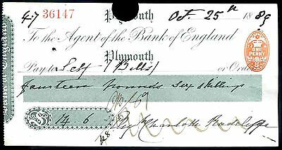 Agent of the Bank of England. Plymouth. 18(89).