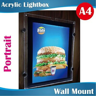 A4 Wall Mount Acrylic Lightboxes Light Box Portrait Display with Stand Offs
