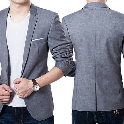 Men Formal Business Suit One Button Lapel Long Sleeve Pockets Top Goodish