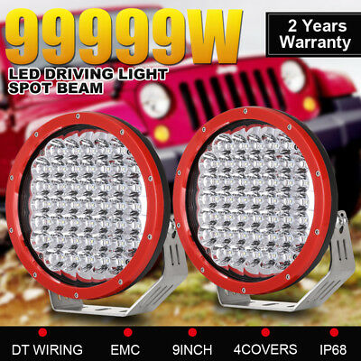 99999W Pair 9 inch CREE LED Driving Lights RED ROUND Spotlights Offroad 4WD Work