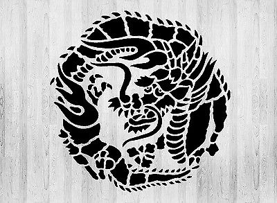 Japanese Style Oriental Dragon Design Decorative Stencil - Wall Decor, Mylar,