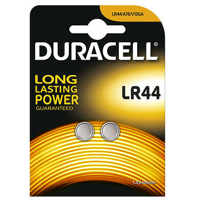 2 x DURACELL LR44 BATTERY ALKALINE 1.5V COIN CELL BUTTON BATTERIES AG13 V13GA