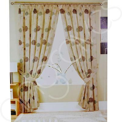 Natural Floral Emilia Dream N Drapes Lined Curtains 66x72 Inch 168 x 183 cm