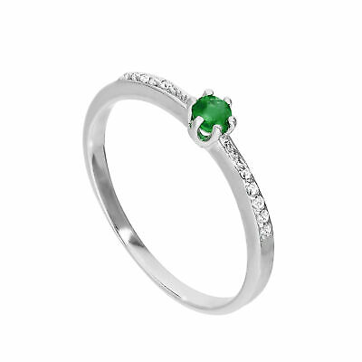 Sterling Silver & Genuine Emerald Ring w Clear CZ Crystals on Shoulders I - U