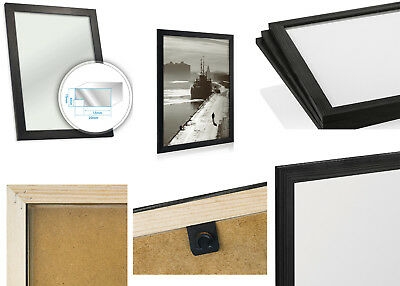Black Wooden Picture Photo Frame Natural Scandinavian Pine Wood Many Sizes