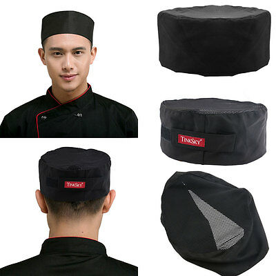 TINKSKY Breathable Mesh Top Skull Cap Catering Chefs Hat with Adjustable Strap