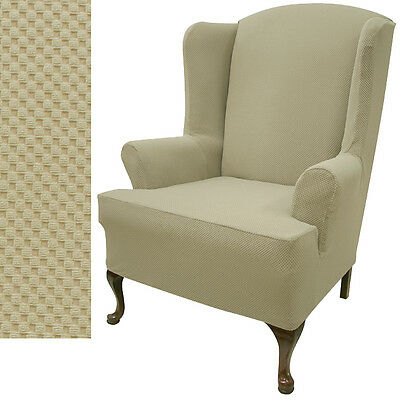 Stretch Pique Oatmeal Biscuit Wing Sofa Cover 707