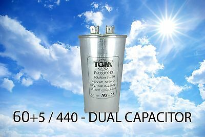 Dual Run Capacitor 60+5 /  440v - 60MFD + 5 - 50/60HZ NEW