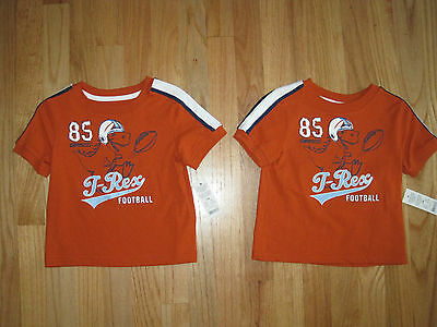 Twin boys T REX DINOSAUR FOOTBALL ORANGE tops shirts NWT 18m