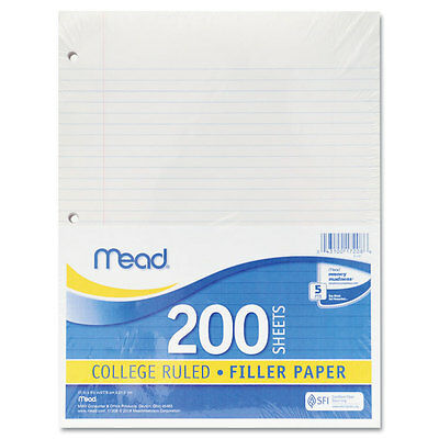Mead Filler Paper 15lb College Rule 11 x 8 1/2 White 200 Sheets 17208