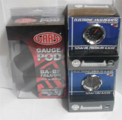 Ford Falcon BA Dual Gauge Cup Holder w VOLT & OIL PRESSURE 52mm Black Gauges