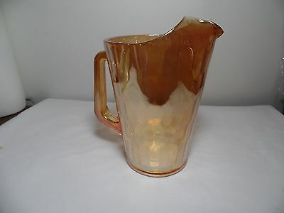 Vintage Jeanette Marigold Iridescent Gold Carnival Glass Pitcher 64 Oz