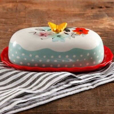 New The Pioneer Woman Flea Market Decorated Floral 6.4 Butter Dish Multicolor