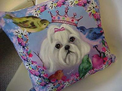 Maltese Handpainted Pillow Gorgeous!