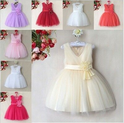 Flower Girl Dress Girls Bridesmaid Dress Party Prom Corsage Dress Pink Purple
