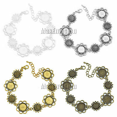 12mm Round Bezel Bracelet Blanks Forms fit 12mm Round Cabochons 5 PCS M153