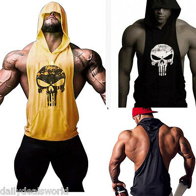 Hot Men's Gym Clothing Bodybuilding Stringer Hoodie Tank Top Muscle hooded Shirt