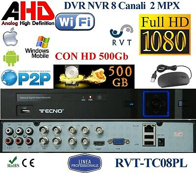 KIT Dvr 8 Canali CON HD 500GB AHD PROFESSIONALE iPhone Android P2P TOP QUALITY
