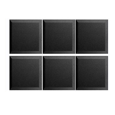 """6 Pack Acoustic Wedge Foam Bevel Soundproofing Tiles Wall Panel 12"""" X 12"""" X 2"""""""