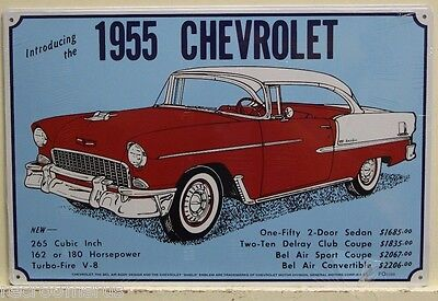 CHEVROLET metal sign introducing 1955 chevy vintage style ad sign classic M-66