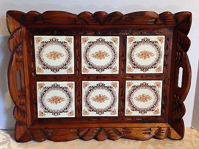 "Vtg Carved Wood & Inlaid Ceramic Brown & White Tile 19 1/2"" Serving Tray Mexico"