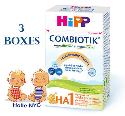 HiPP Combiotic HA 1 First Infant Milk 3 BOXES FREE PRIORITY SHIPPING 03/2019