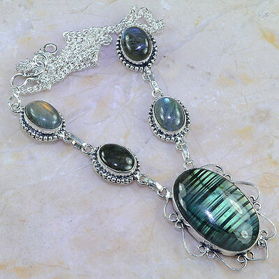"Stunning Top Quality Huge 22X34Mm Genuine Labradorite 925 Necklace 18 3/4"" 31Gms"