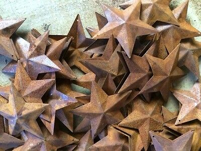 "50 Dimensional Rusty Barn Stars 2.25 in 2 1/4"" Primitive Metal Rust 57mm Craft *"