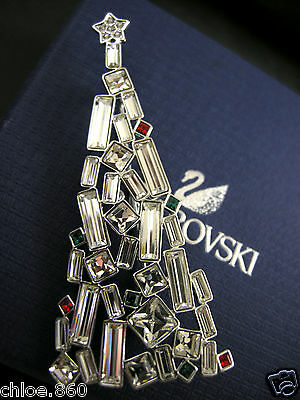 Signed Swarovski  Crystal Christmas Tree Pin ~ Brooch Retired New In Box