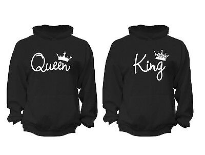 2 FOR 1 SALE: King Queen Couples Matching soft Black Unisex Hoodie S-6X