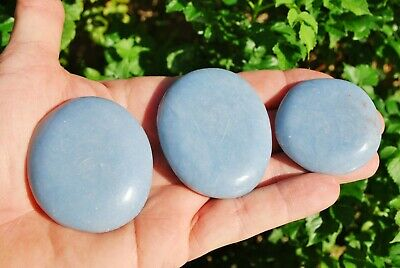 "LG CHARGED 2"" Angelite Crystal Hand-Carved Palm / Worry Stone Peaceful Energy!"