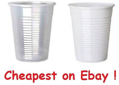 White or Clear Plastic 7oz Disposable Cups 200ml Vending Style Cup 180cc