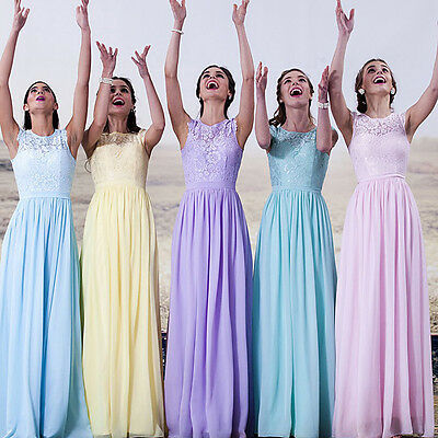 Formal Long Chiffon Ball Gown Party Prom Dresses Bridesmaid Dress Evening 6-16