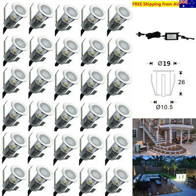 30Pcs 19mm 12V 0.4W Mini Outdoor Garden Path LED Stair Deck Lights +Power Supply