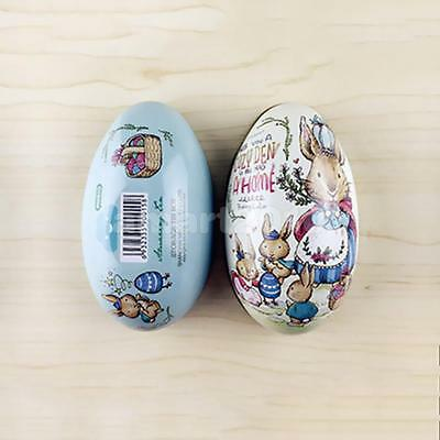 Easter Egg vintage Bunny Rabbit Tin Boxes Painted Basket Candy Accessory 09
