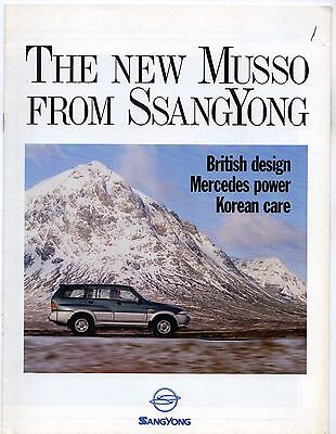 Ssangyong Musso 1995-96 UK Market Advertising Supplement Brochure