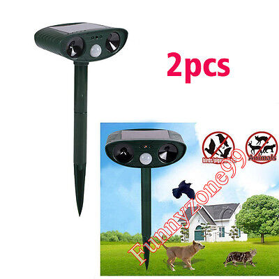 2x PIR Sensor Ultrasonic Solar Power Cat Fox Dog Repeller Scarer Frighten Animal