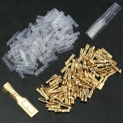 100pcs 2.8mm Insulating Brass Crimp Terminal Female Spade Connectors with Sleeve