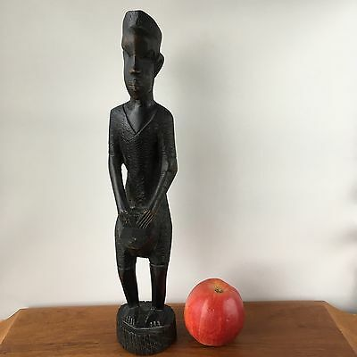 Vintage Old African EBONY TRIBAL HUMAN Sculpture WOODEN Carved Statues Art #204
