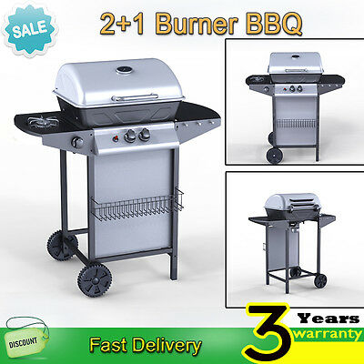 2 Burner BBQ Gas Grill Stainless Steel Barbecue + 1 Side Outdoor Garden Patio