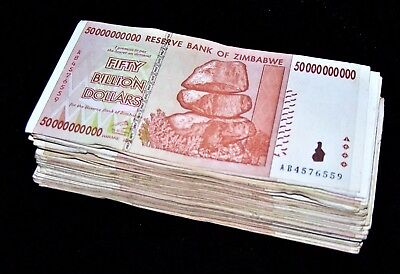 100 x Zimbabwe 50 Billion Dollar banknotes-AA/AB 2008/circulated currency bundle