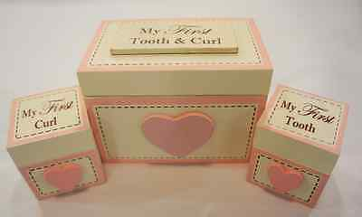 Ivory and Pink Baby Girl Tooth and Curl Set of 3 Boxes #F1249A
