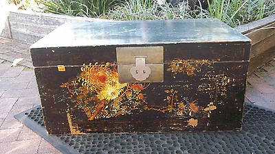 Chinese Antique Painted floral Chest / Trunk - Gansu - NSW 2283 - blanket box