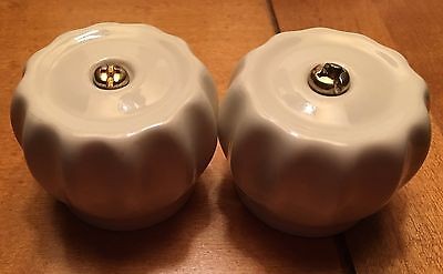Unique Round Porcelain Spigot Knobs - Two