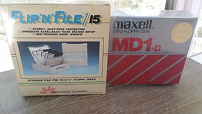 Vintage New Sealed Flip n File Maxell MD1-D Mini Floppy Disk Combo