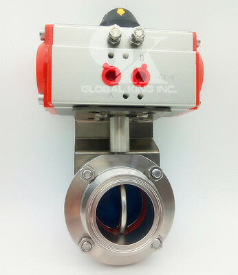 "3.5"" Φ89 Sanitary Stainless 304 Tri-Clamp Silicone Pneumatic Butterfly Valve"