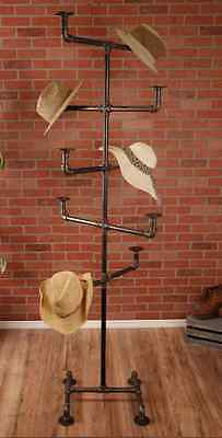 """Hat Rack - Industrial Style Hat Rack - Black 3/4"""" Pipe - 10 Hat Pipe Stand"""