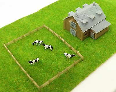Outland Models Train Railway Layout Country Barn with Grass & 4 Cows Z Scale