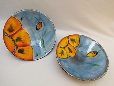 """Poole Pottery England Footed 10.75"""" Diameter Round Bowls"""