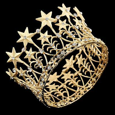 Retro Golden Crystal Wedding Bridal Crown Tiara Pageant Prom Party Accessory